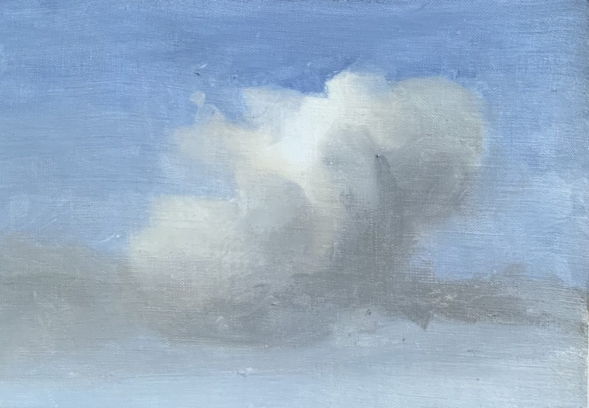 Process image of how to paint clouds final step