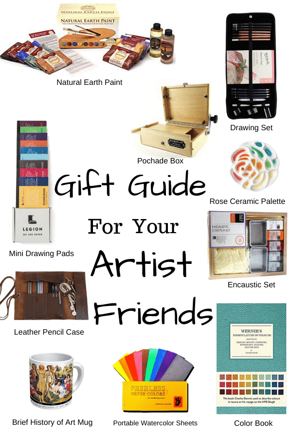 Gift guide for artists. creative and artsy gift ideas for the artists in your life. A variety of gifts for all different kinds of artists. Gift guide for beginning oil painters. Gifts for artists. Christmas gift list for artists #giftguide #giftsforartists #giftsforbeginningpainters #giftsforpainters #Christmasgifts