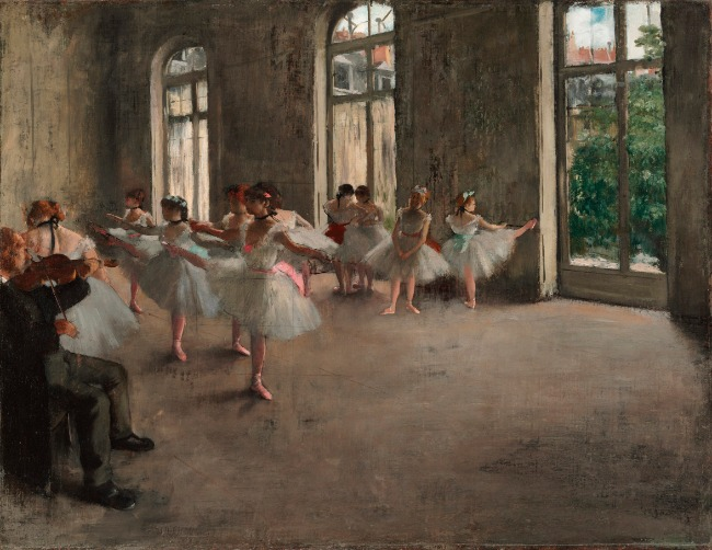 Edgar Degas, Ballet Rehearsal, painting with color and light