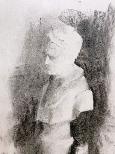 charcoal drawing of a sculpture. value drawing for beginners