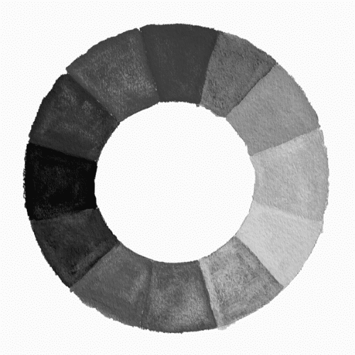 Color wheel greyscale, painting with color and light