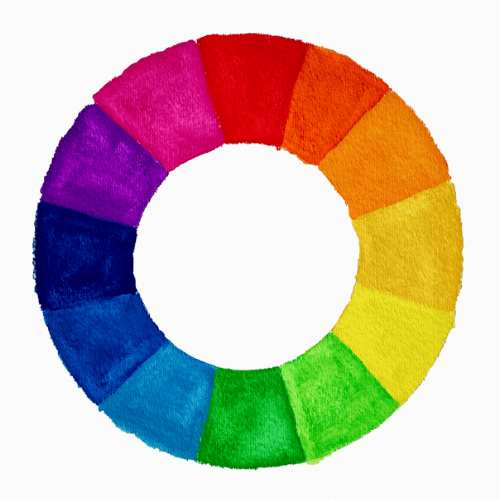 color wheel made with watercolor paints