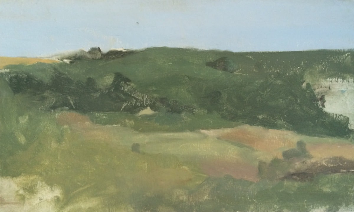 Painting of a landscape full green shades of color