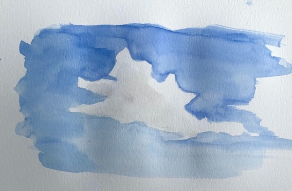 watercolor cloud painting in process. how to paint clouds in watercolor