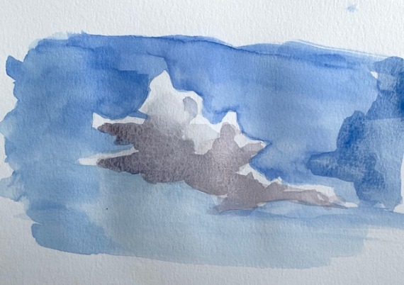completed watercolor cloud painting,