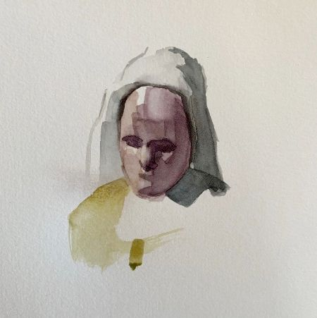 watercolor portrait painting of a woman with a scarf on head