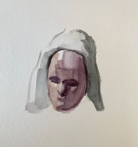 painted head of a woman with a scarf