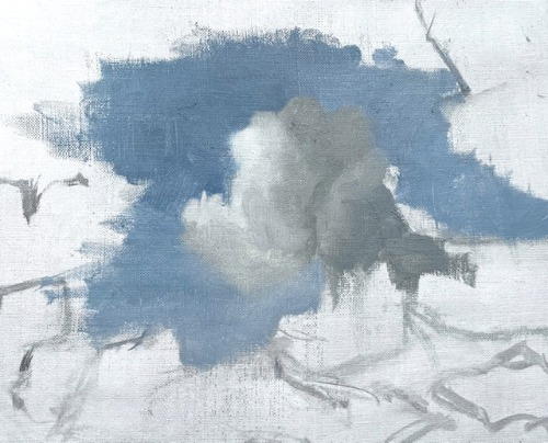 Cloudy sky painting in progress