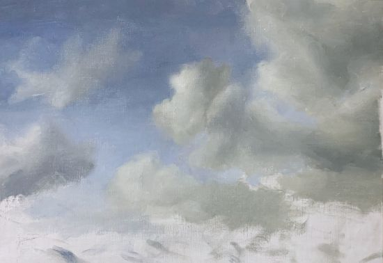 Cloudy sky painting second to last step