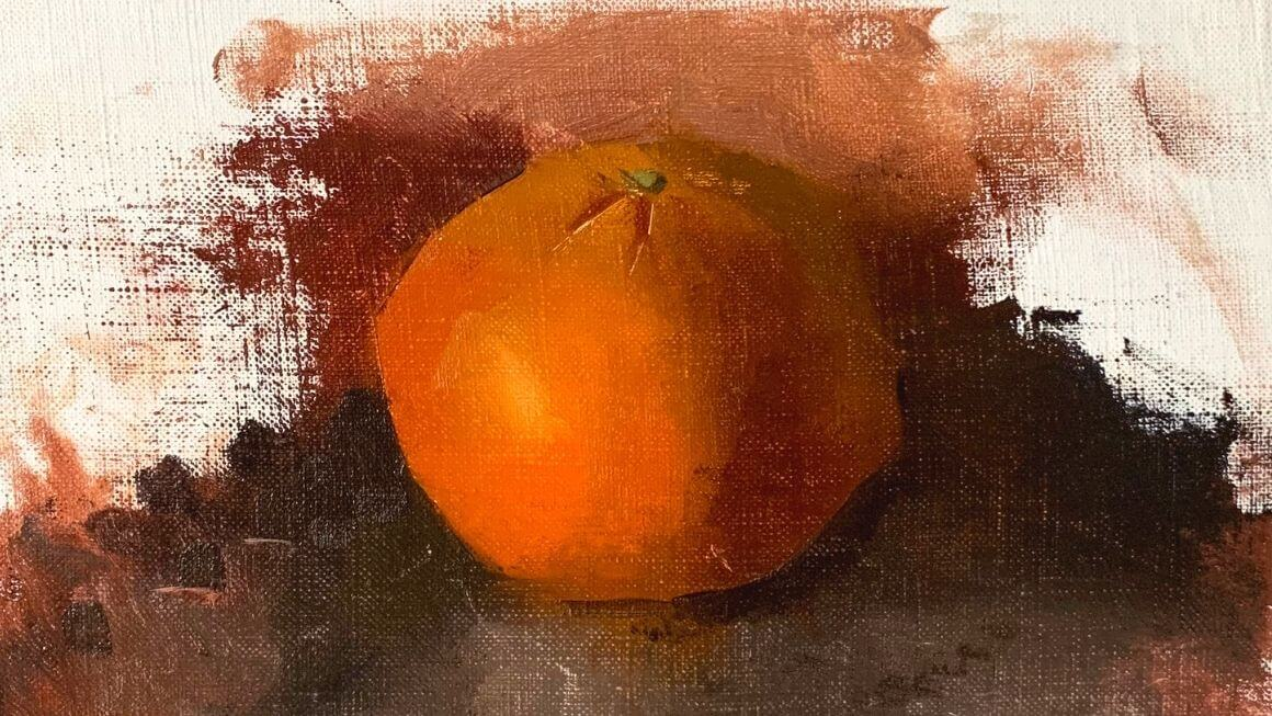 Demonstrating what colors make orange through a painting of an orange fruit still life