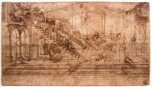 Leonardo da vinci one point perspective drawing, Adoration of the magi