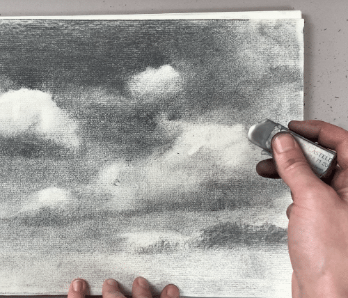 Using an eraser to lighten areas in your drawing