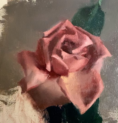 Rose painting in process