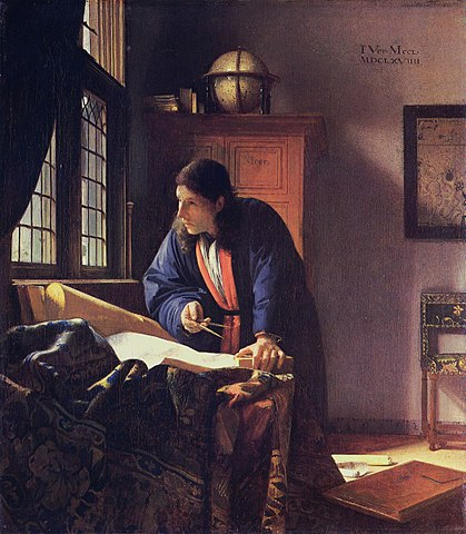 orange-blue complementary color scheme in a painting by Vermeer, the astronomer