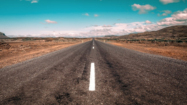 Image of a road narrowing off into the distance