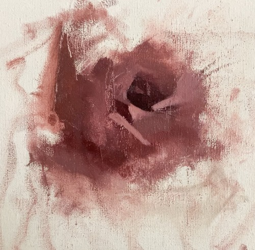 beginning painting of a rose