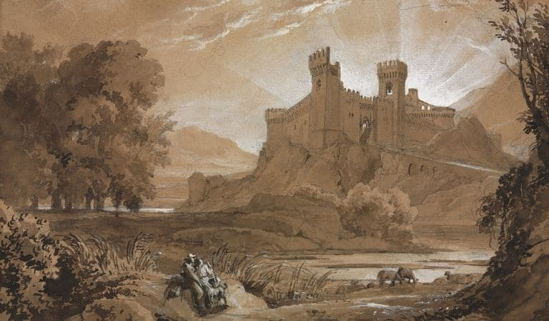 Drawing of a castle in a landscape