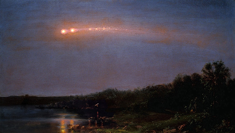 paint a comet, frederic edwin church. painting a galaxy