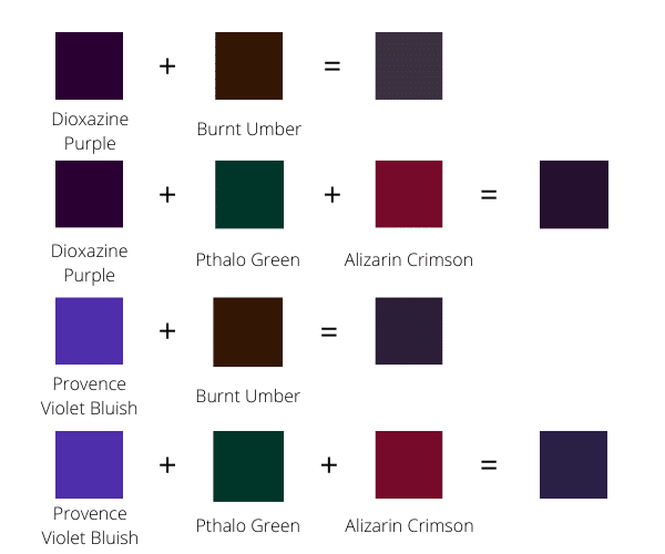 Dark shades of purple color chart showing different possible color combinations through color squares