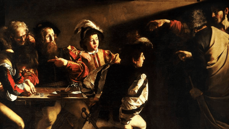 Shades of black color example in the painting of The Calling of St. Matthew By Caravaggio