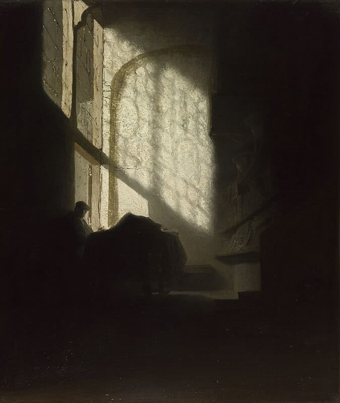 Painting of a person sitting in shadow with light coming through a large window