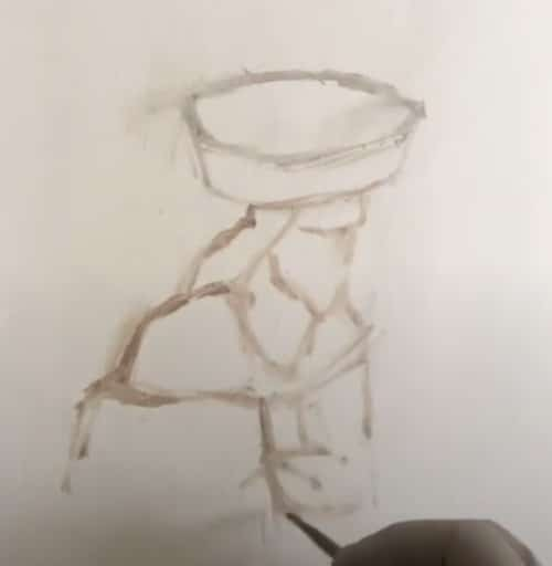 Sketch on canvas of a figure's clothes