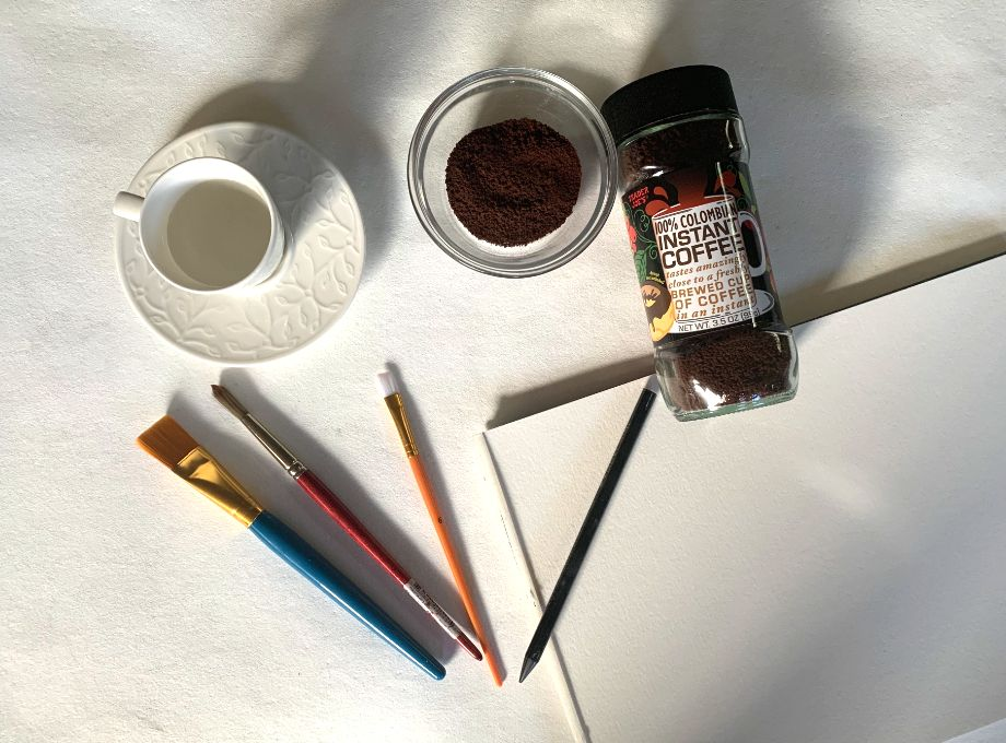 Materials for painting with coffee