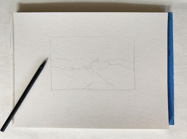 Pencil sketch for watercolor landscape painting
