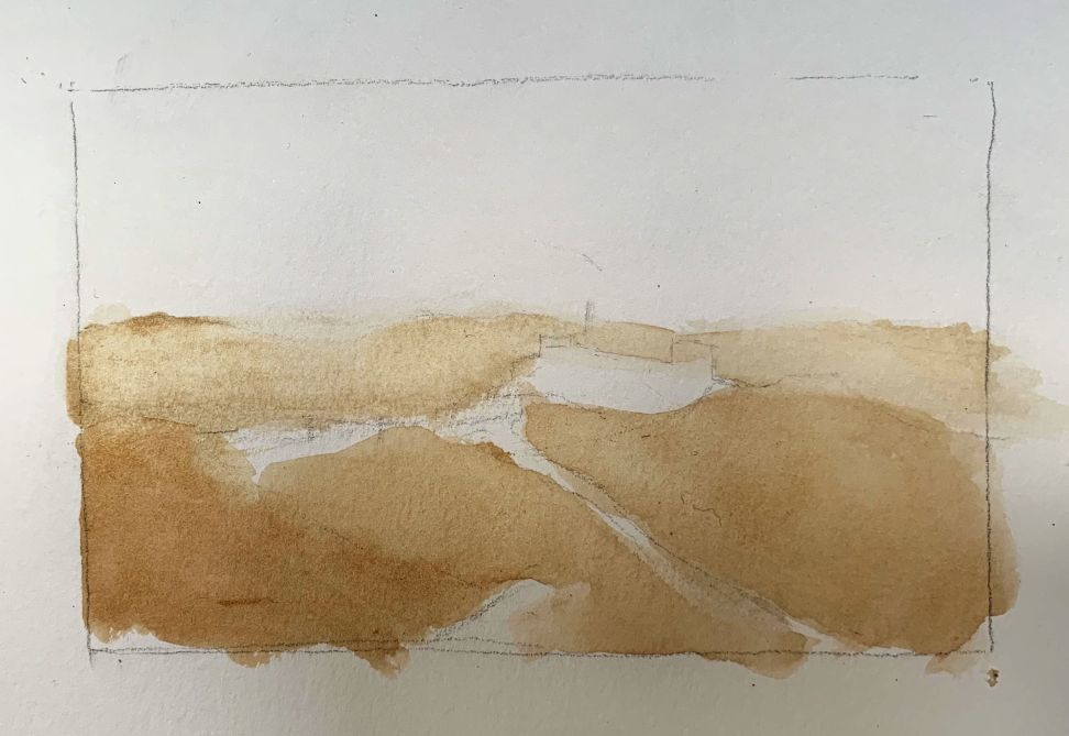 blocking in coffee watercolor painting