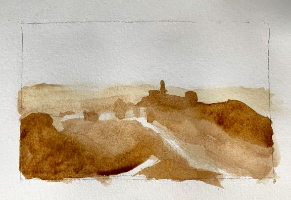 Layering values in watercolor painting
