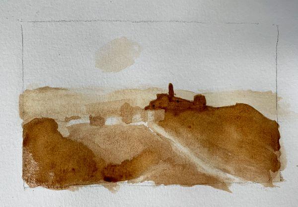 Darkening coffee watercolor paint