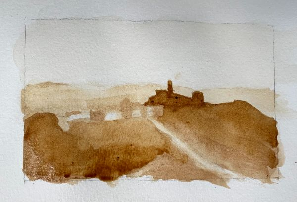 Painting in sky in watercolor landscape