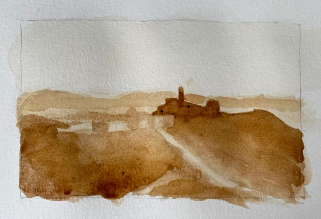 Finishing up coffee watercolor painting, painting with coffee