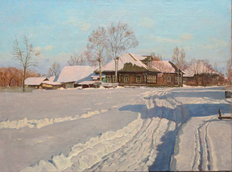 Oil winter landscape painting by Nikolay Anokhin