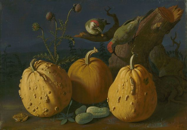 fall still life painting of three pumpkins and surrounding fall items