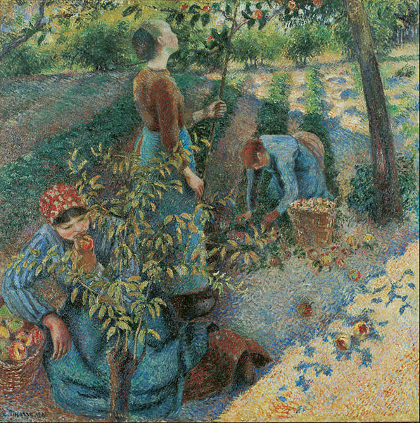 painting of women picking apples by pissaro