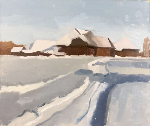 winter landscape painting tutorial