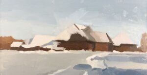Winter landscape painting tutorial of a homestead in the snow