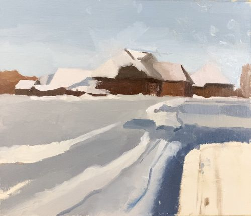 winter landscape painting step by step in progress