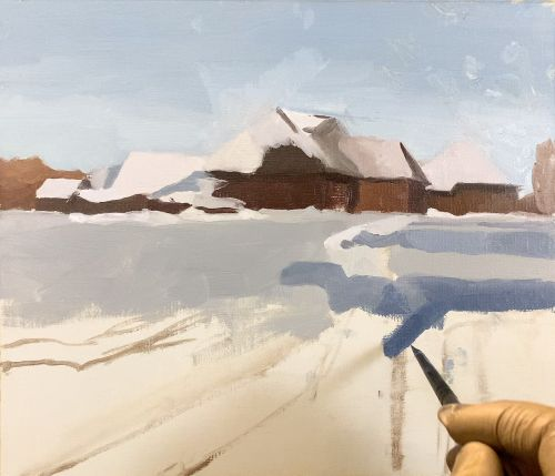 how to paint shadows in snow