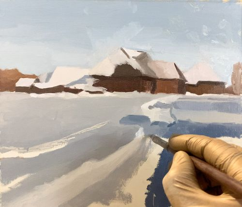 paint winter landscape