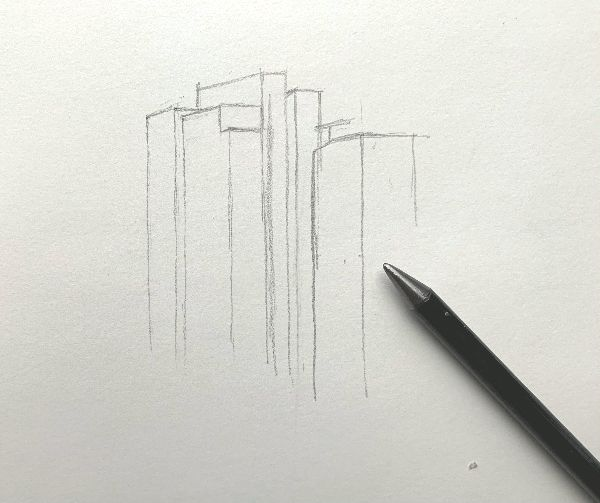 drawing a cityscape with line drawing