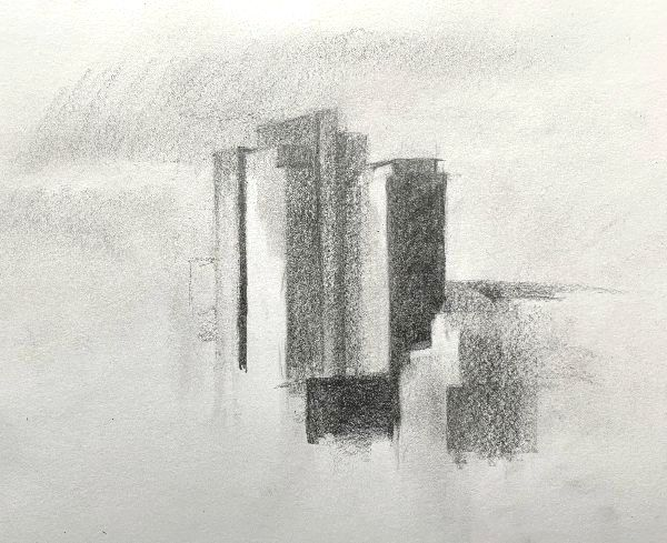 drawing a city with graphite pencil