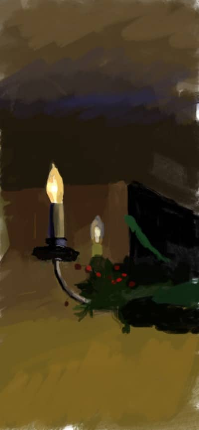night time digital painting of a candle stick