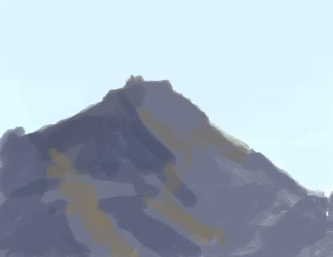 Quick digital painting study of a mountain top