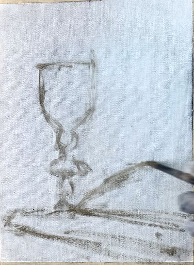 sketching out oil painting light cup