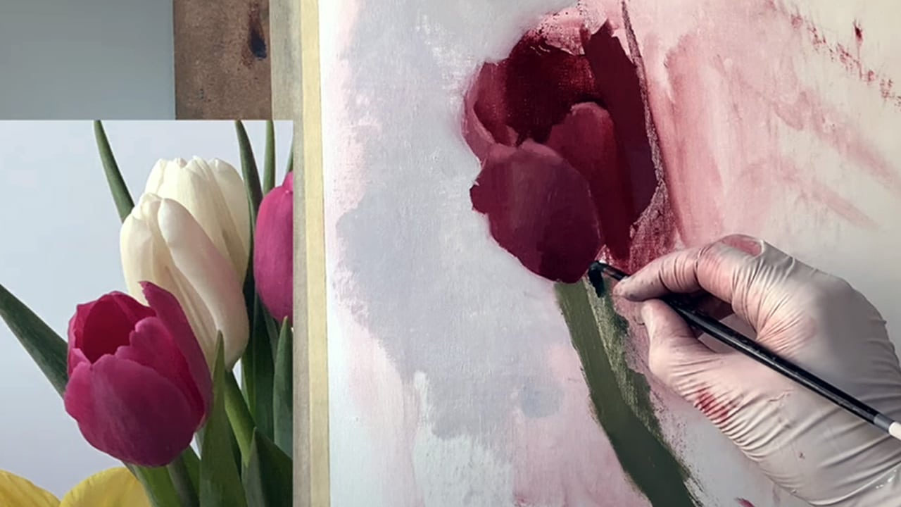 Tulip painting flowers tutorial brush on canvas