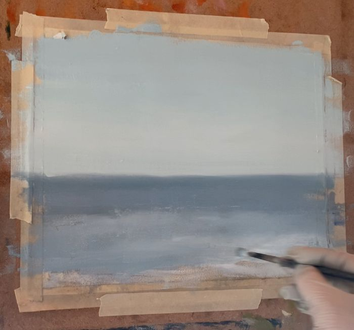 Painting ocean waves with a light white paint value