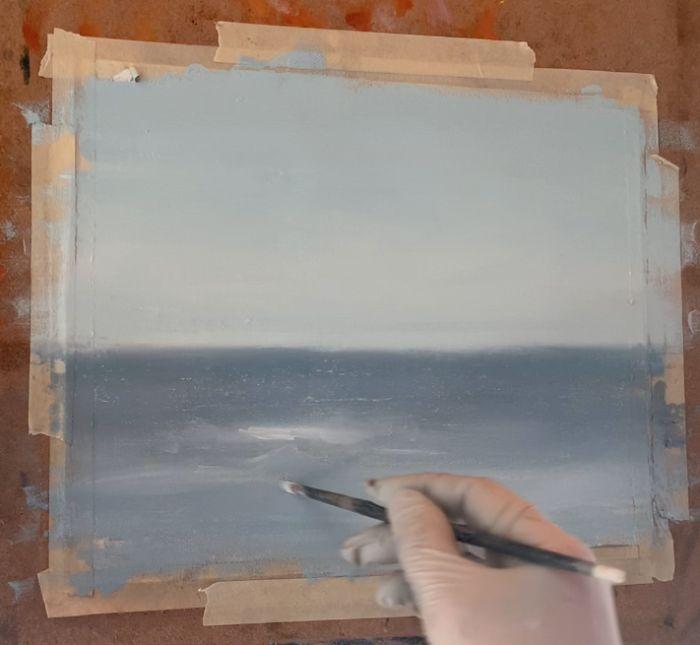 painting multiple waves in an ocean painting