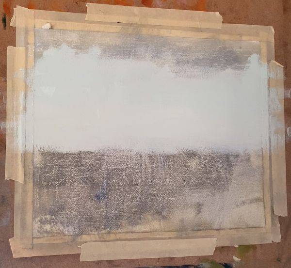 A canvas with the beginning of the sky for an ocean painting